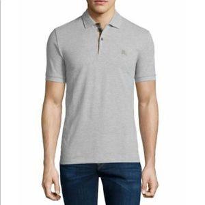 BURBERRYl Gray Nova Check Cotton Polo Shirts S